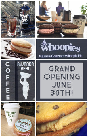 whoopie pie and coffee shop grand opening flyer