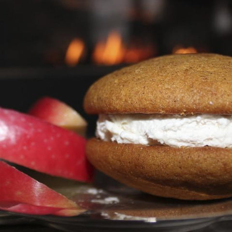 grannys gone wild whoopie pie with apple slices and fireplace