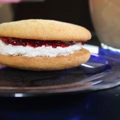 Buttery vanilla cake with raspberry jam and Limoncello cream filling gourmet whoopie pie