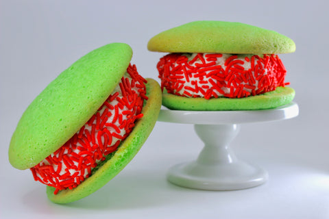 green and red whoopie pies
