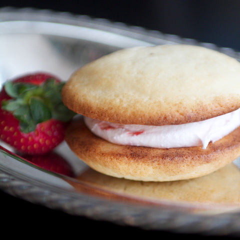 Buttery vanilla cake with strawberry cream filling gourmet whoopie pie