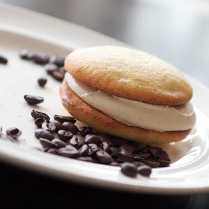 Buttery vanilla cake with espresso/Kahlua cream filling gourmet whoopie pie
