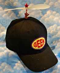 Adult Black Propeller Hat With Brim (with patch)