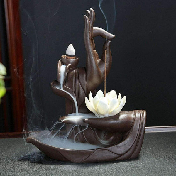 Ceramic Backflow Incense Burner Tathagata Buddha Lotus Incense Cones Stick Holder +10pc Cone Incense Creative Home Bouddha Decor - LifeStar