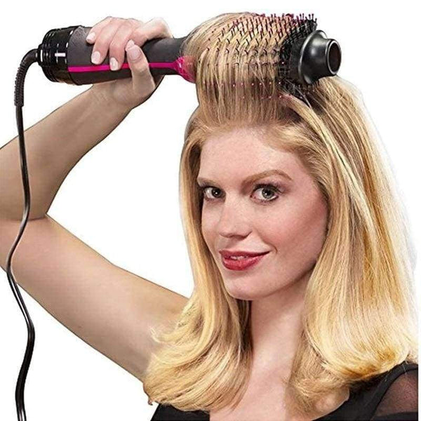 1000W Professional Hair Dryer Brush 2 In 1 Hair Straightener Curler Comb - LifeStar
