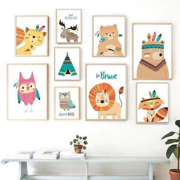 COLORFULBOY Modern Kawaii Animals Baby Dream Quotes Canvas Painting - LifeStar