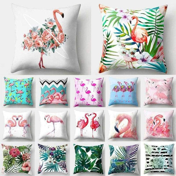1Pcs Flamingo Flower Leaf Pattern Polyester Throw Pillow Cushion Cover - LifeStar