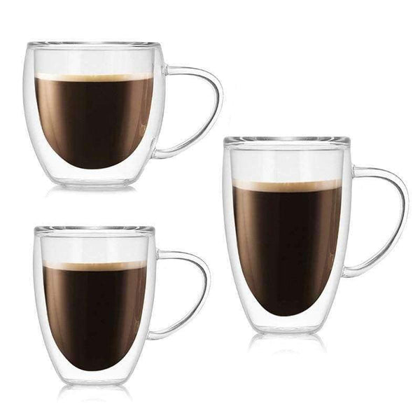 300 400 500ml glass Coffee mug Heat-resistant double glass transparent - LifeStar