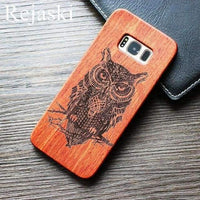Henna Skull Bamboo Sculpture Wood Phone Cases For Samsung Galaxy S8 Plus Wolf Skull Wooden Phone Cover Samsung S8 Plus Case - LifeStar