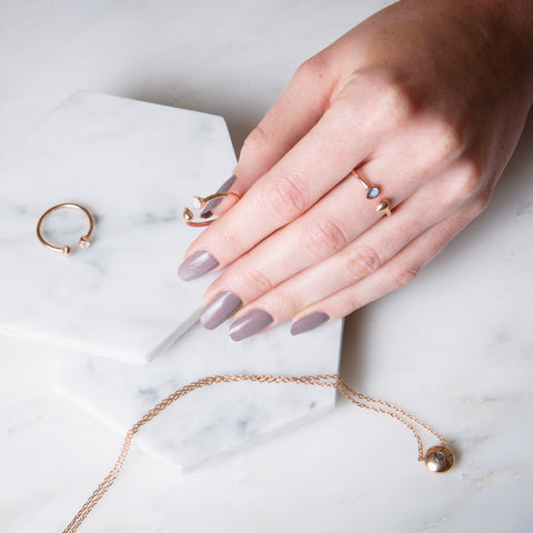 rose gold adjustable rings with stunning stones for ethical fashion