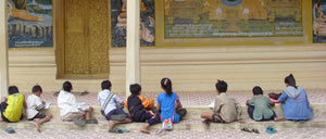 children off the streets and into education. this picture is Cambodian temples