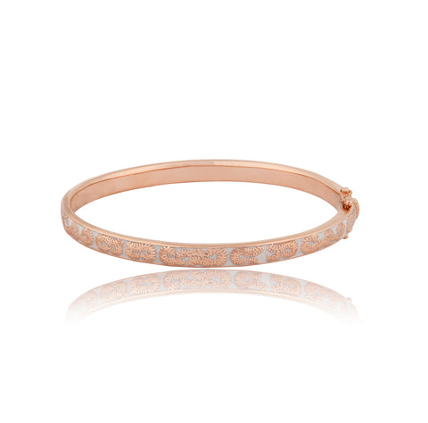 Floral Rose Gold & Enamel Bangle - Vurchoo