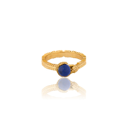 Floral Gold Vermeil and Lapis Ring