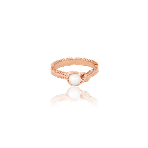 Floral Rose Gold and Shell Pearl Ring - Vurchoo