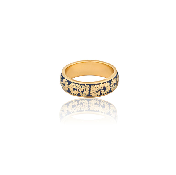 Caleb Blue Enamel 18ct Gold Vermeil Ring - Vurchoo