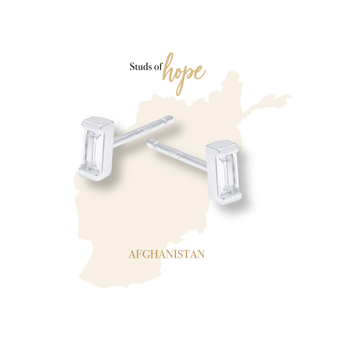 Silver and Cubic Zirconia Baguette - Afghanistan