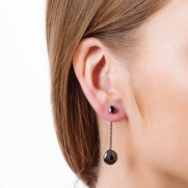 Black Rhodium Tear Drop Pendant Attachments & Stud Earrings - Vurchoo