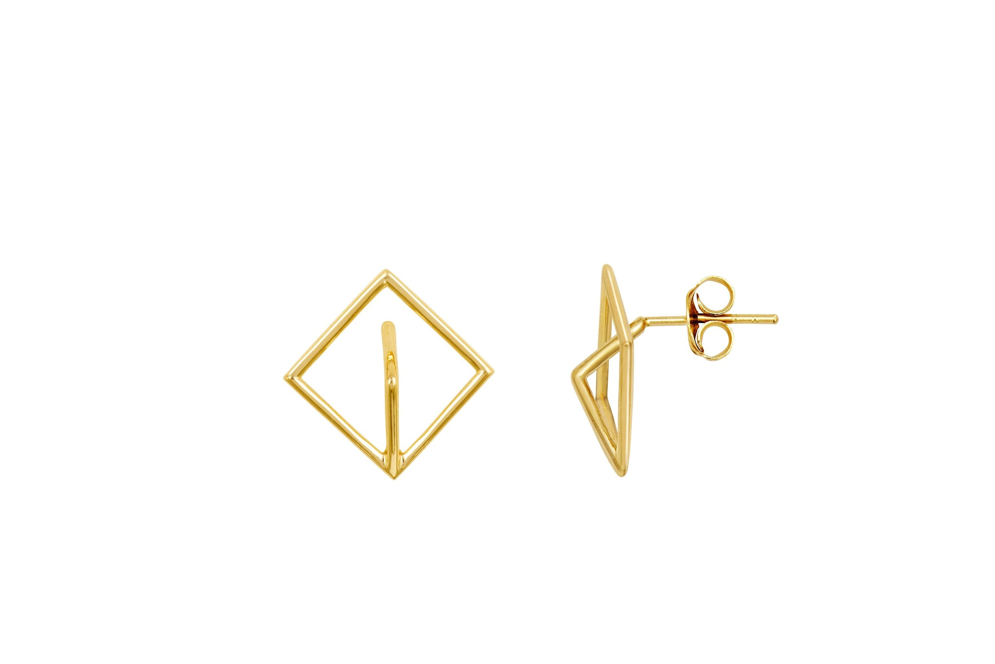 Gold 3D Mountain Stud Earrings