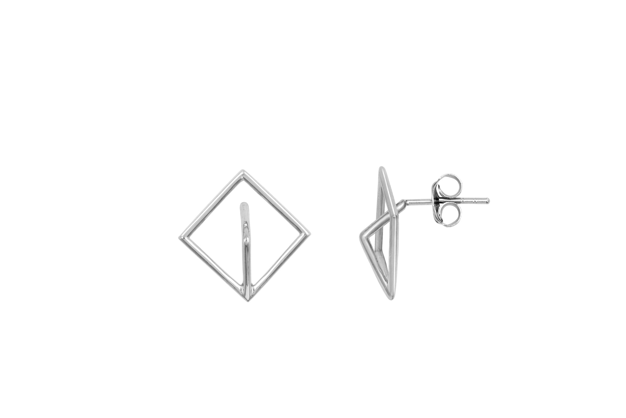 Silver 3D Mountain Stud Earrings