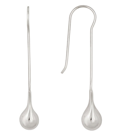 Water Drop Threaded Earrings Silver
