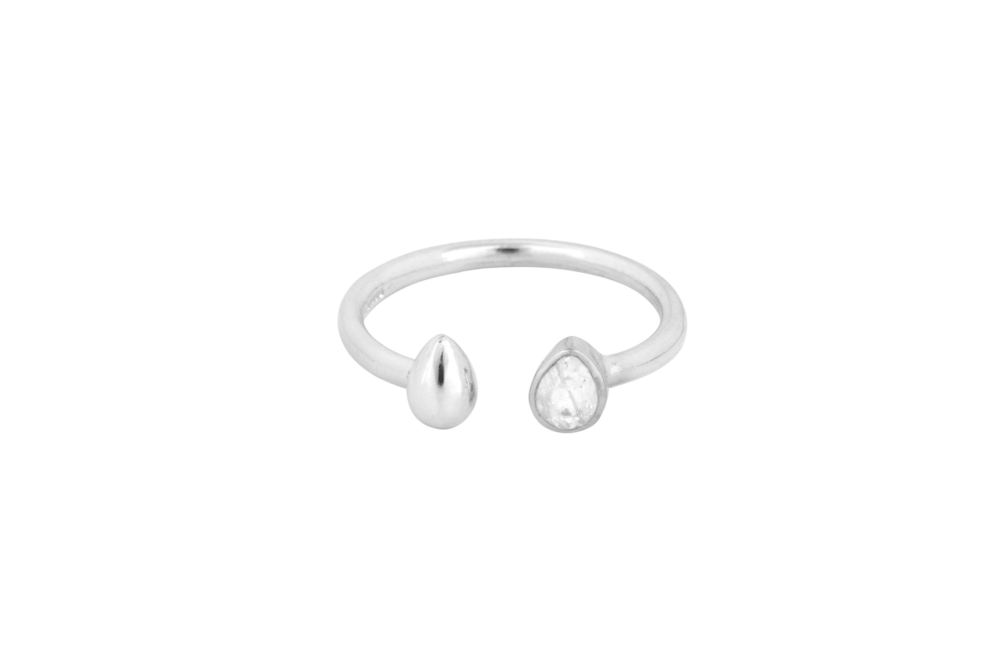 Silver Stone Tear Drop Comfort Ring - Vurchoo