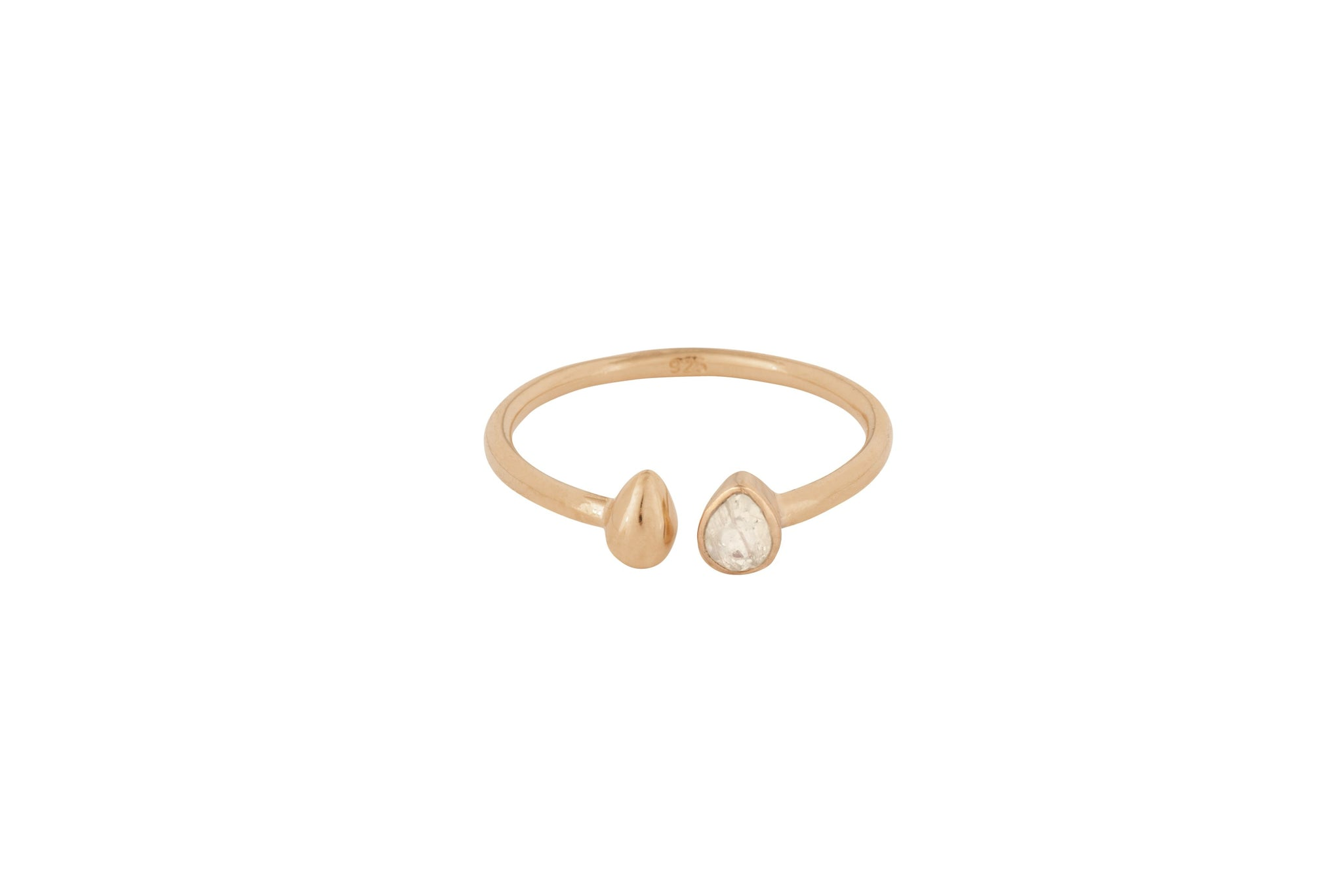 Rose Gold Stone Tear Drop Comfort Ring - Vurchoo