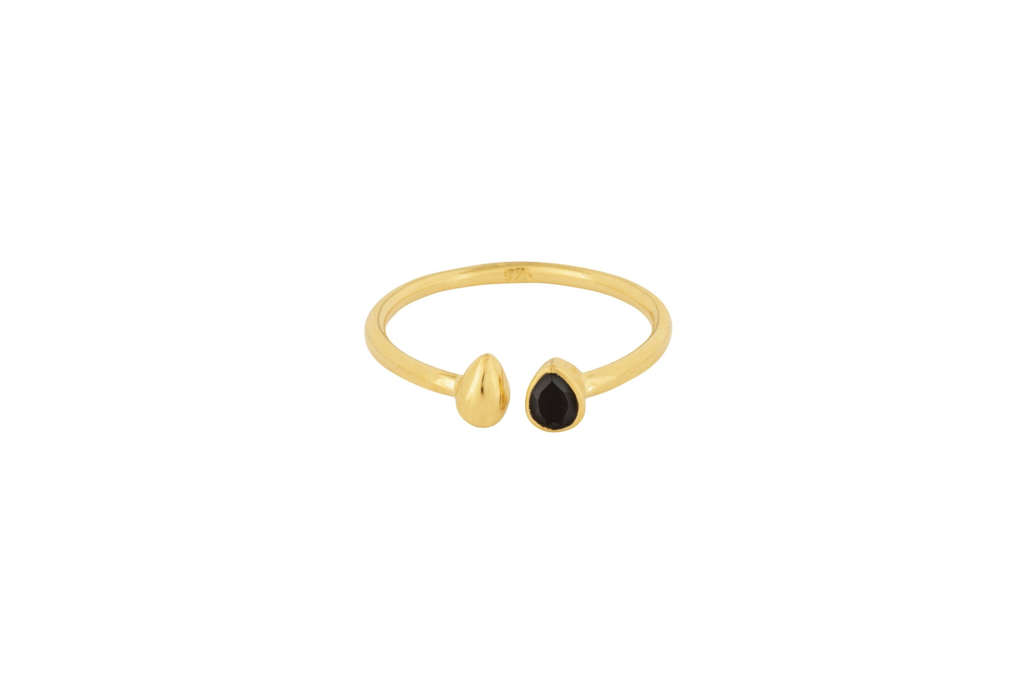 Gold Stone Tear Drop Comfort Ring - Vurchoo