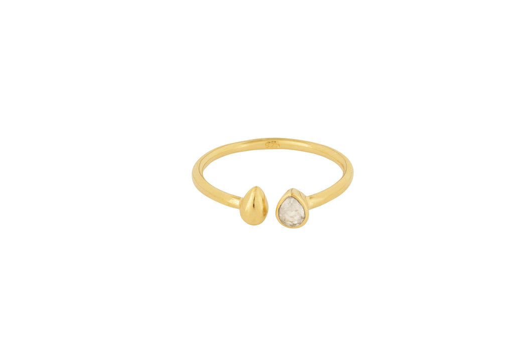 Gold Stone Tear Drop Comfort Ring