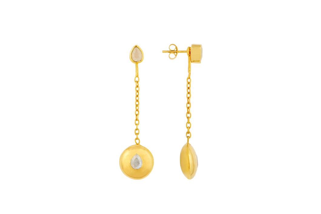 Gold Tear Drop Pendant Attachments & Stud Earrings