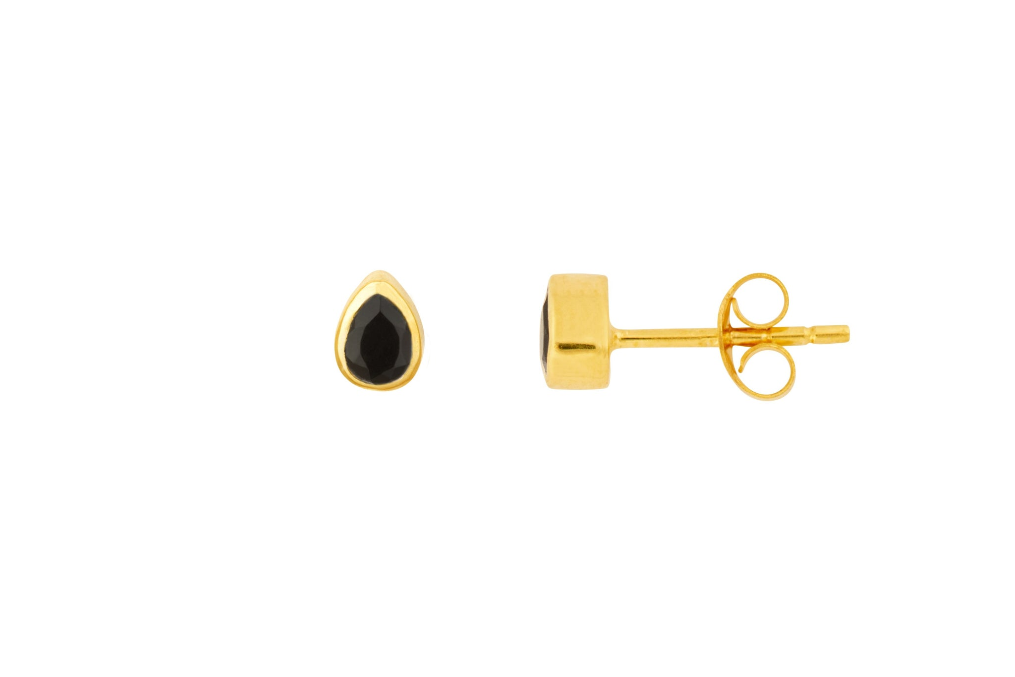 Gold Tear Drop Stone Studs - Vurchoo
