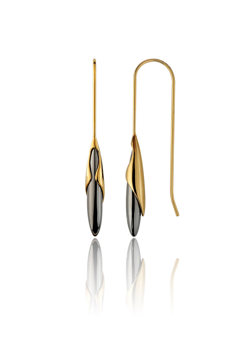 Gold Vermeil & Black Rhodium Drop Earrings - Vurchoo