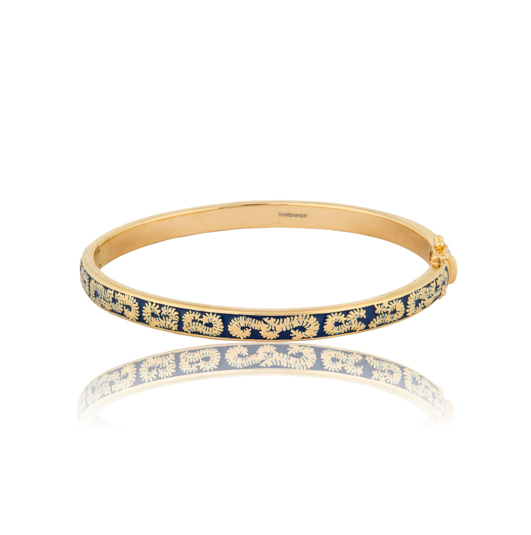 Floral Blue Enamel Gold Vermeil Bangle - Vurchoo