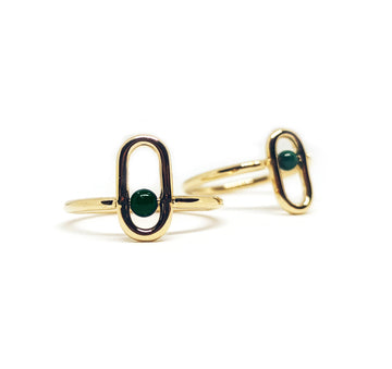 Spinning Gold Malachite Ring