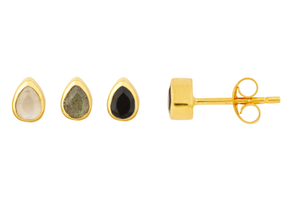 Gold Tear Drop Stone Studs