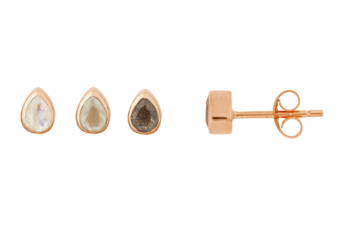 Rose Gold Tear Drop Stone Studs - Vurchoo