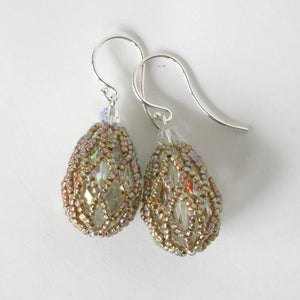 Crystal AB/Rainbow Netted Swarovski Teardrop Earrings