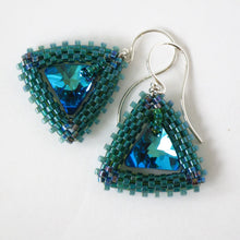 Load image into Gallery viewer, Triangle Swarovski Drop Earrings