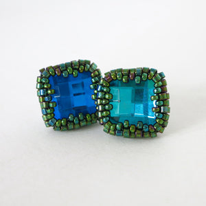 Swarovski Checkerboard Post Earrings
