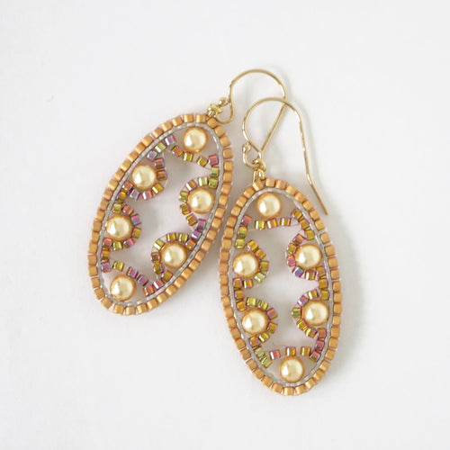 Small Ellipse Earrings with Swarovski crystals/pearls