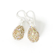 Load image into Gallery viewer, Crystal AB/Rainbow Netted Swarovski Teardrop Earrings