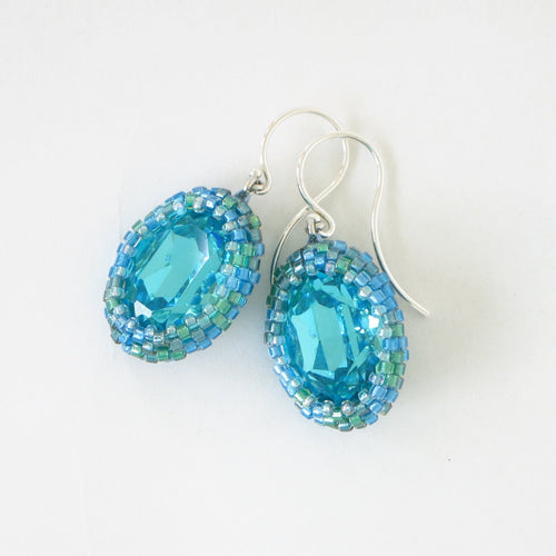 Swarovski Oval Fancy Stone Bead Bezeled Earrings