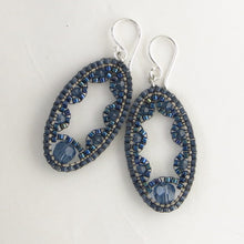 Load image into Gallery viewer, Small Ellipse Earrings with Swarovski crystals/pearls