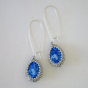 Long Swarovski Crystal Teardrop Earrings