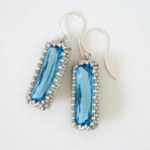 Long Rectangle Swarovski Crystal Rhinestone Earrings