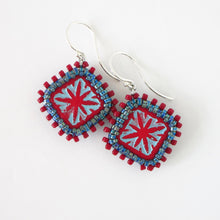 Load image into Gallery viewer, Square Czech Bead Starburst Earrings