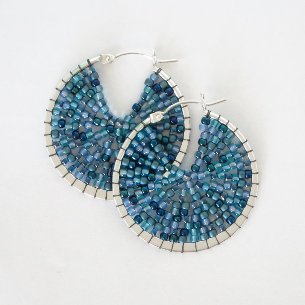 Large Beaded Sterling Silver Hoops