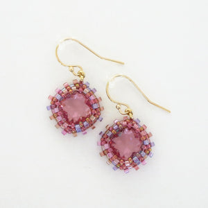 Clear Soft Square Swarovski Bezeled Earrings