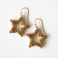 Load image into Gallery viewer, Beaded Open Star Earrings