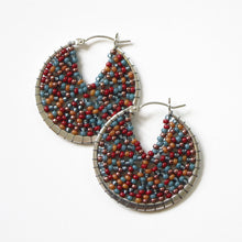 Load image into Gallery viewer, Large Beaded Sterling Silver Hoops