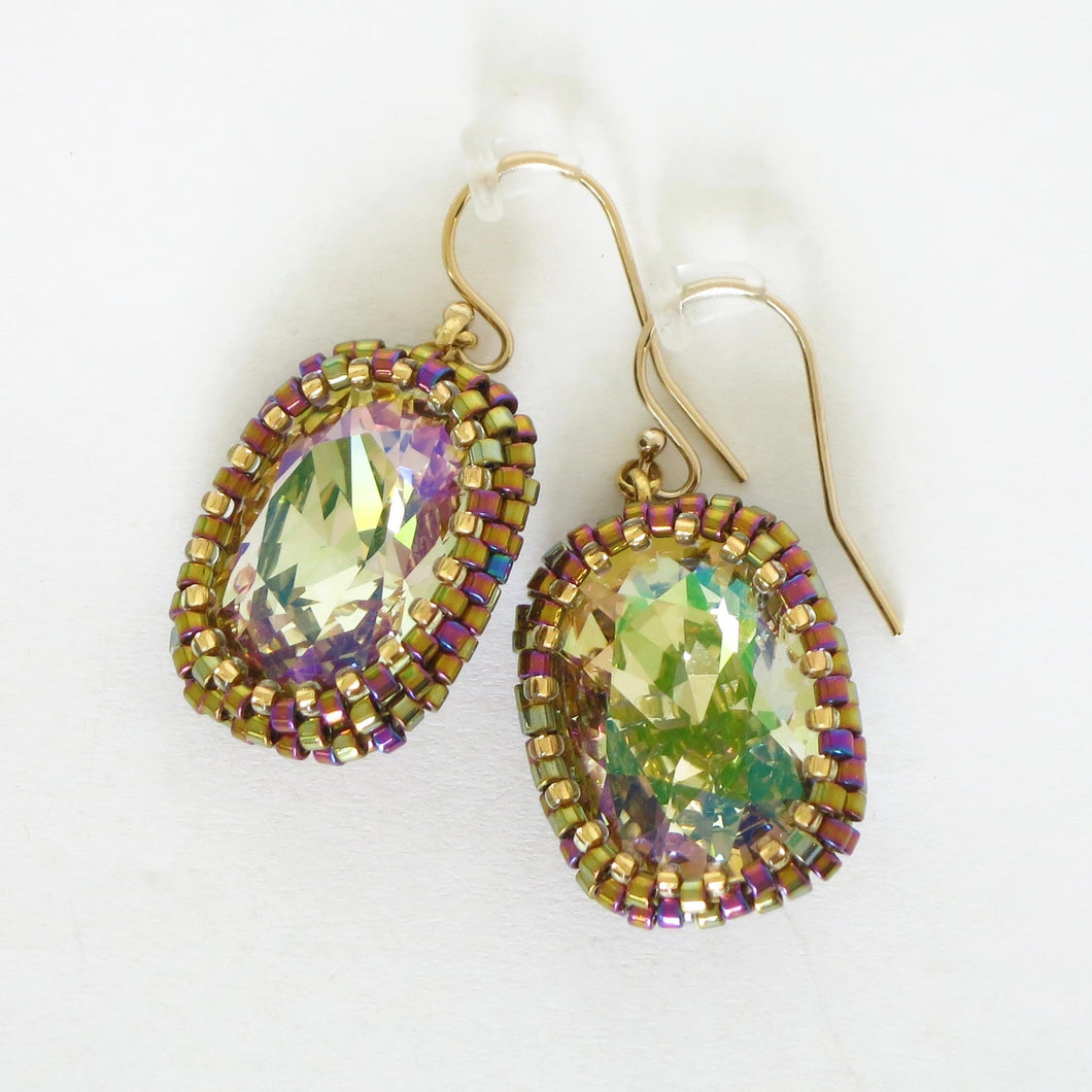 Large Swaroski AB Bezeled Earrings